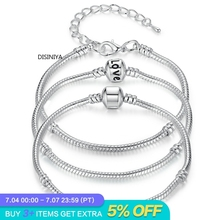 DISINIYA  5 Style Silver Color LOVE Snake Chain Bracelet & Bangle 16CM-21CM Pulseras Lobster PA1104