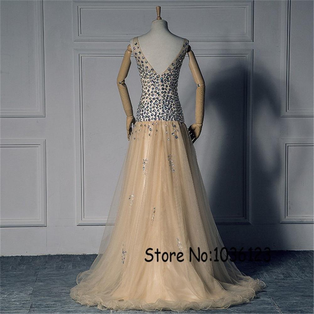Spaghetti Straps Deep V-neck AB Colorful Stones Beading Champagne Prom Dress Dropped Waistline Sexy Cheap Evening Dress