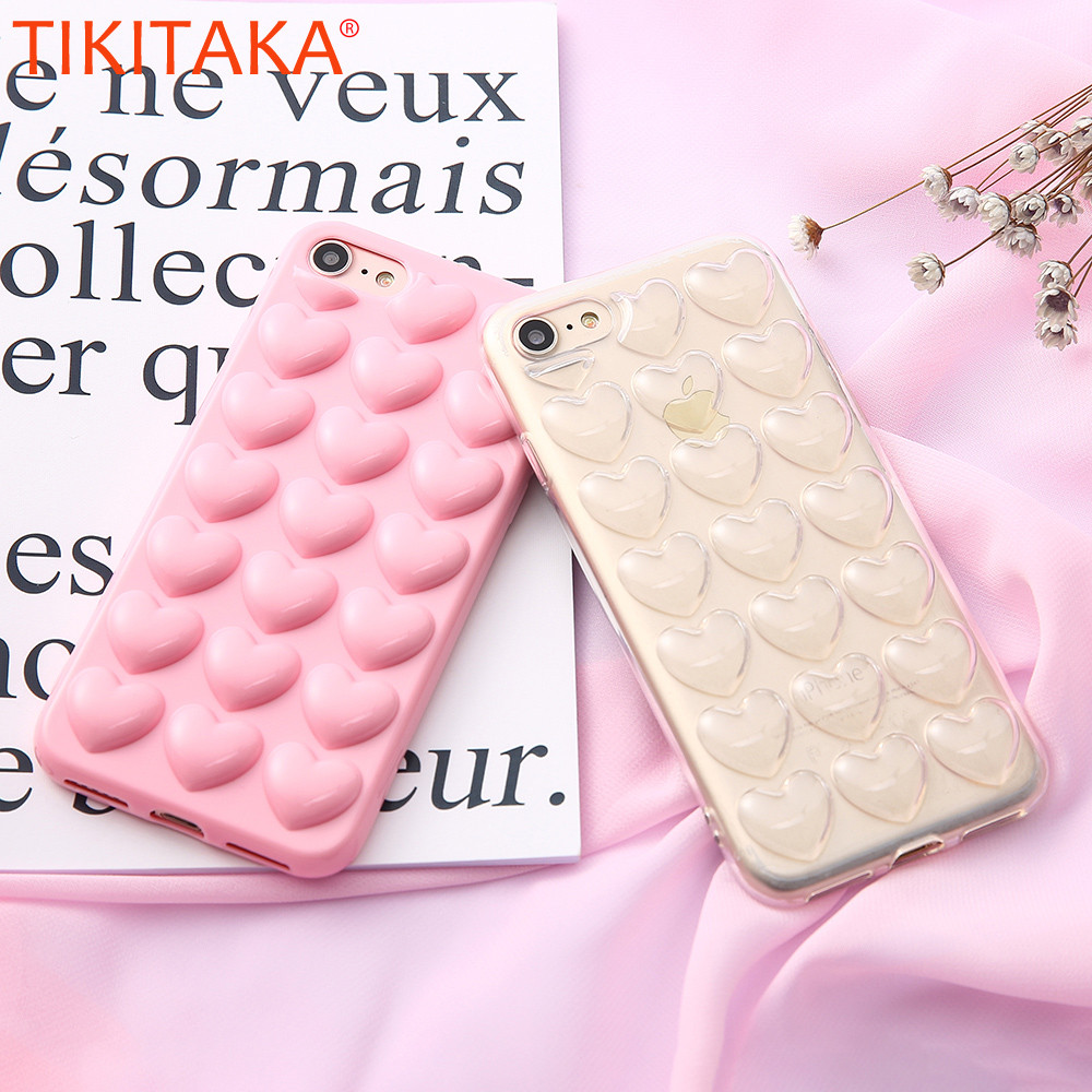 Cute 3D Sweet Lady Love Heart Phone Iphone 6 Plus Soft TPU Back Cover For Iphone 6S Plus With Phone Chain