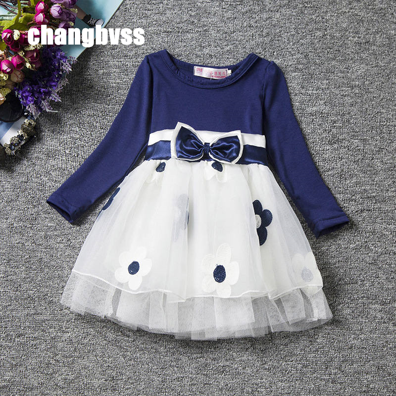 Red Blue Kids Dresses for Girls,Long Sleeve Princess Dress Girls Clothes,Flower Bow Decortion Baby Infant Girl Dress Cheep Price girls dresses long sleeve 2017 spring brand kids dress for girls clothes baby infant animal flower princess costumes children