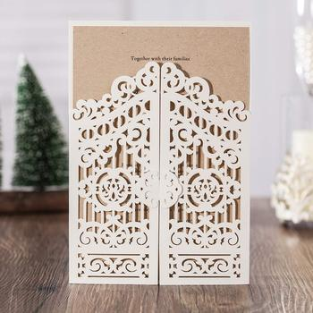 White Laser Cut Wedding Invitations Card 50pcs, Fold Gate Blank Birthday Gift Greeting Invitation Post Card Party Favors