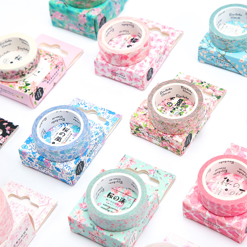 7 Meter Long Fresh Sakura Masking Tape Album Scrapbooking Decor Washi Tape School Supply Stationery Stick Label