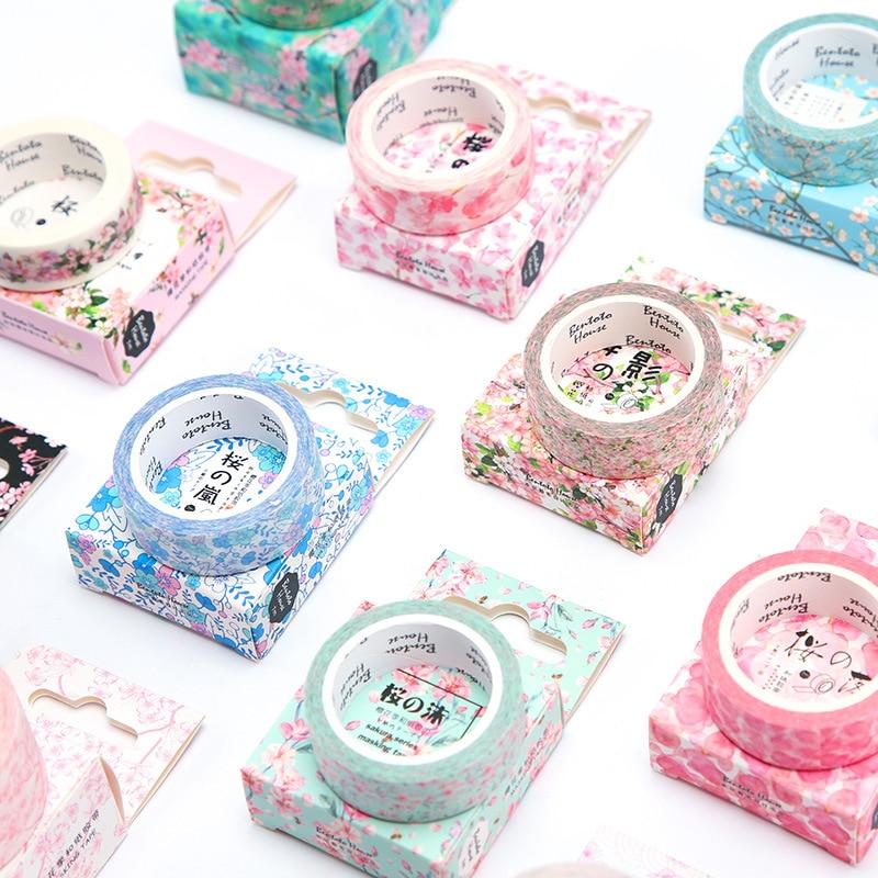 7 Meter Long Fresh Sakura Masking Tape Album Scrapbooking Decor Washi Tape School Supply Stationery Stick Label