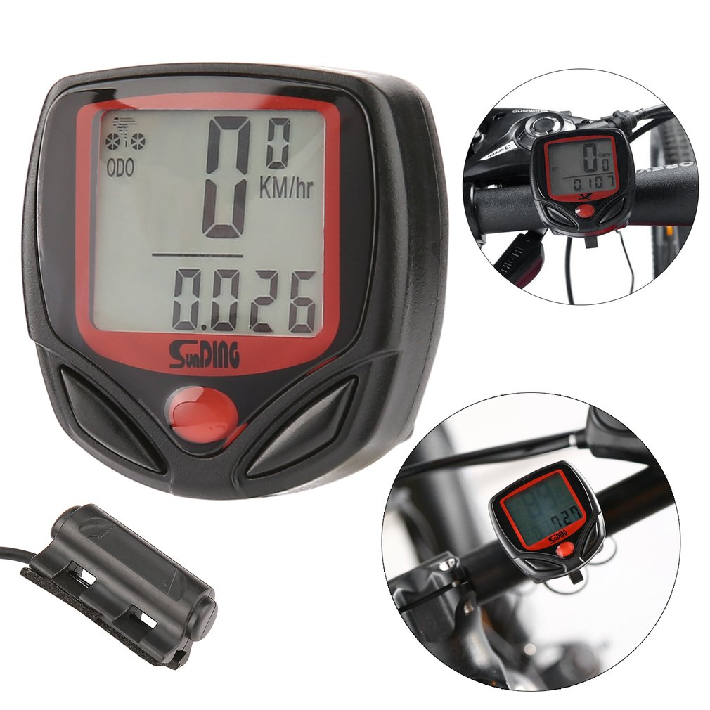SUNDING Multifunctional Bicycle Computer Wired Odometer Stopwatch Waterproof Mini Digital LCD Speedometer Tracker Wholesale