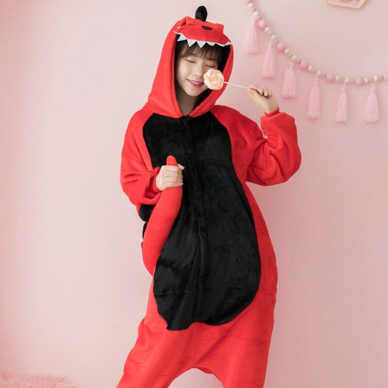 Dinosaur Kigurumi Onesies Costumes Men And Women Hooded Animal Cartoon Pajamas Red Dinosaur Home Lovers Long Sleeve Jumpsuits Home