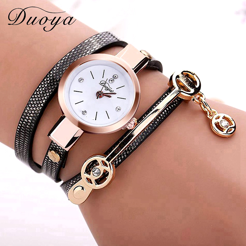 New Duoya Fashion Women Bracelet Watch Gold Quartz Gift Watch Wristwatch Women Dress Leather Casual Bracelet Watches lancardo handmade braided friendship bracelet watch new hand woven wristwatch ladies quarzt gold watch women dress watches