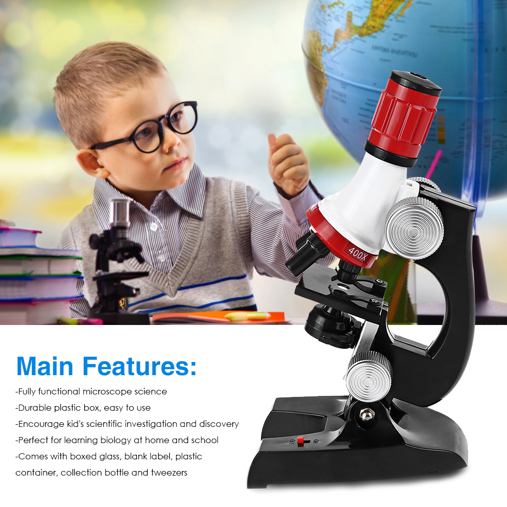 Kids Plastic 450X 1200X Zoom Biological Science Microscope Refined Scientific Instrument Educational Toy Useful Microscope