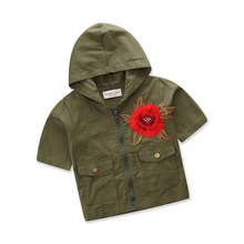 aa73584b2 2-7Y Army Green Hooded Short Sleeve Shirt 2018 Brand Summer Baby Girls  Floral Embroidery
