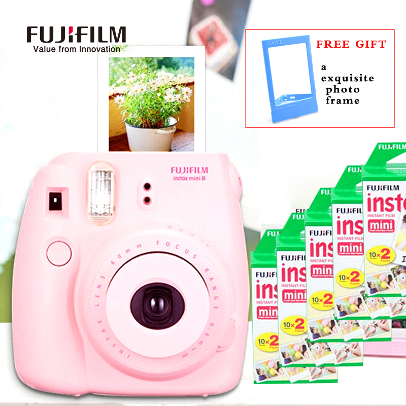Fujifilm Instax Mini 8 Camera Fuji Instant Film Photo Camera + 100PCS sheets Fuji Instax Mini White films 3 inch Photo Paper genuine compact fuji fujifilm instax mini 8 camera instant printing regular film snapshot shooting photos white red purple pink