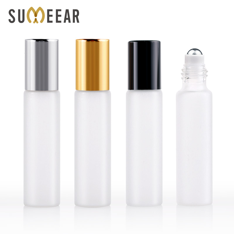 100 Pieces Lot 10ml Mini Refillable Perfume Bottle Frosted Glass Roll On Essential Oil Vial Travel