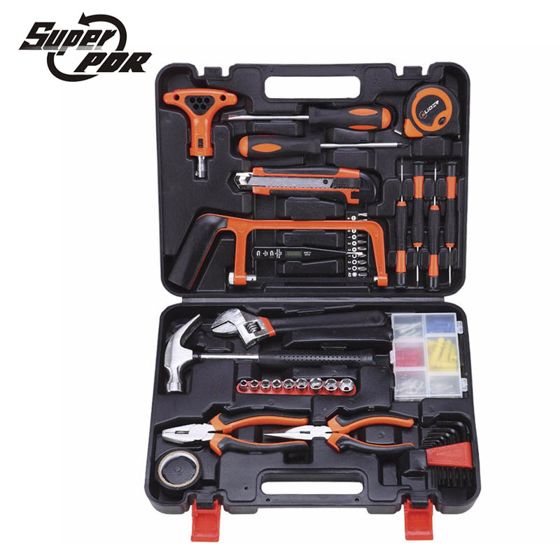 Super PDR tools Household hand Tool Set screwdriver digital electroprobe wrench saw claw hammer 82 pcs DIY Home Repair Kit jumpro mother s day gift 77pc ladies tools pink tool set home tool hammers pliers knife screwdrivers wrenches tapes hand tool