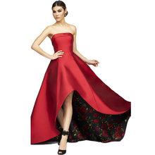 2017 robe de soiree Charming Red Hallo-Lo Prom Kleider Gedruckt Blumen Abendkleid Trägerlose Backless Abend-partei-kleid