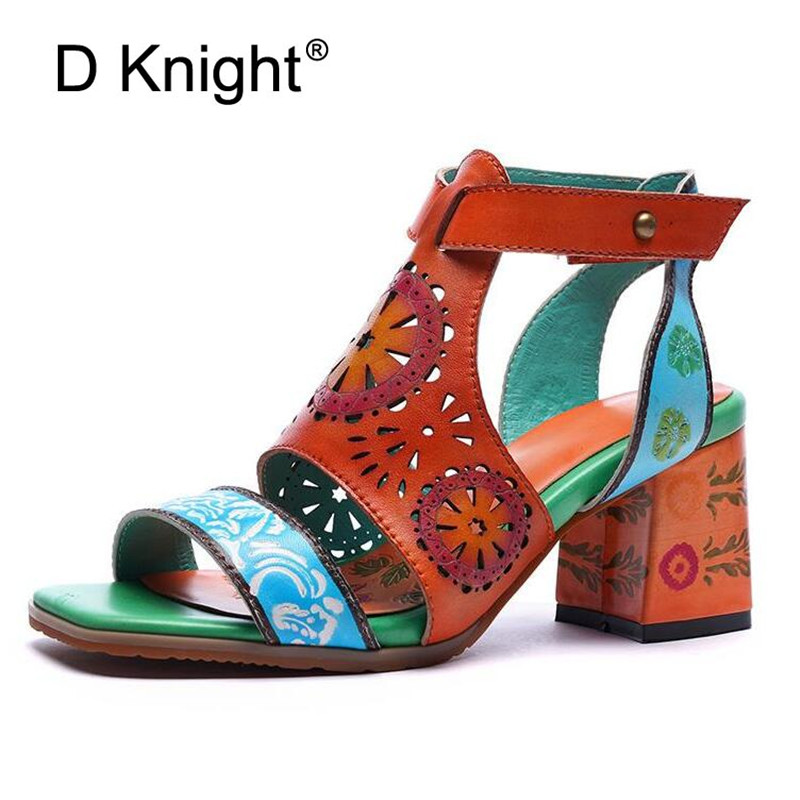 Handmade Sheepskin Women Sandals Plus Size 35-42 Vinatge Galadiator Sandals For Women Color Block Ladies High Heels Orange Shoes