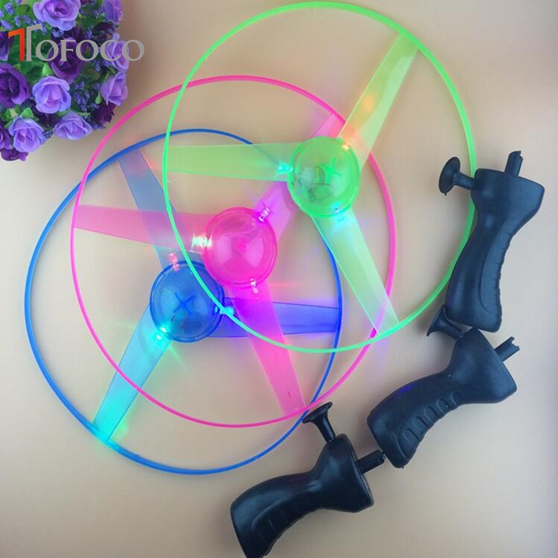 Colorful Funny Toy Pull String Colorful LED Light Up Flying Saucer Disc Kids Toy As Children New Year Gift