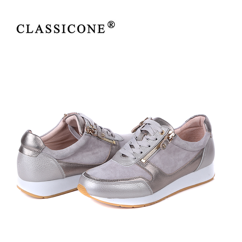 CLASSICONE women shoes spring autumn woman sneakers scoop flats with genuine leather fashion lace up brand luxury style casual in Women 39 s Flats from Shoes