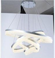 Акрил светодио дный подвесной светильник лампа для Спальня 4 кольца диммер Lamparas Colgantes