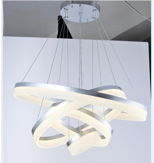 Acrylic LED Pendant Light Lamp For Bedroom 4 Rings Dimmer Lamparas Colgantes