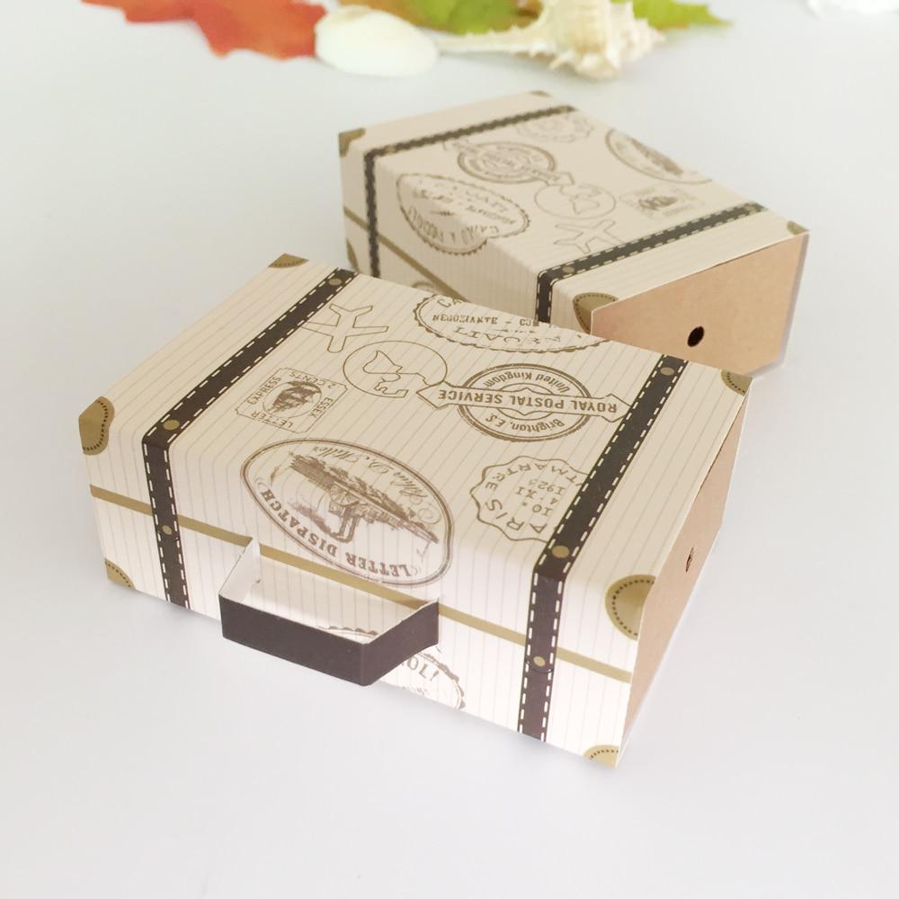 50Pcs Mini Suitcase Candy Box Wedding Favors Chocolate Travel Paper ...
