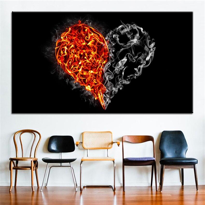 Большой размер печати маслом огонь и дыма он Книги по искусству Роспись стен декор стены Книги по искусству изображение для Гостиная живопи...