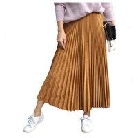 2017 automne et d'hiver nouveau solide or velours plissé long daim taille haute jupe