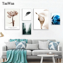 TAAWAA Horse Feather Nordic Canvas Poster and Print Flower Wall Art Abstract Painting Picture for Living Room Modern Home Decor