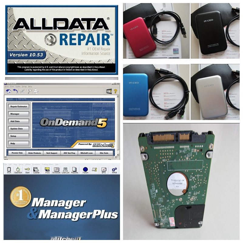 2017 alldata mitchell software alldata 10.53 + mitchell on demand software 2015 + Manager plus auto repair software in 1tb hdd