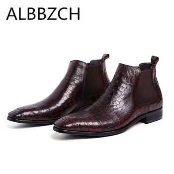 Fashion embossed leather men boots pointed toe slip on mens ankle boots wedding dress shoes high quality work boots size 38 44