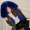 Mujeres parkas de invierno faux fur coat chaqueta de camuflaje ropa outwear brand clothing nieve tops cuello de piel grande l xl moda