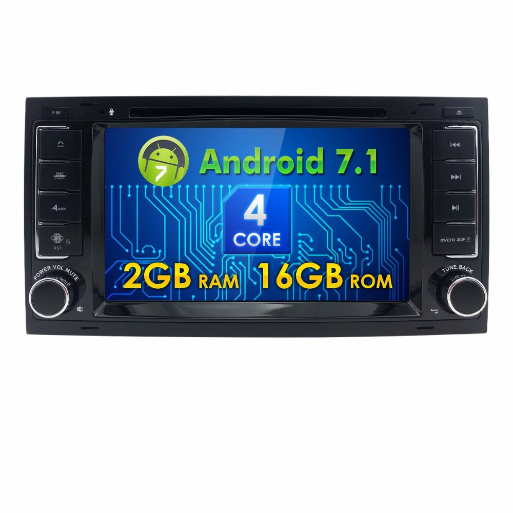 2 Din 7 inch Quad core Android7.1 car dvd player for VW Tourage 2004-2011 T5 Multivan/Transporter to 2009 mirror-link SWC BT DAB