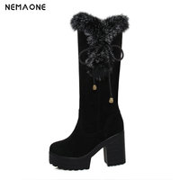 2019 women elegant snow boots 9.5cm super high heel women shoes winter party shoes it`s black brown and yellow large size 34 43