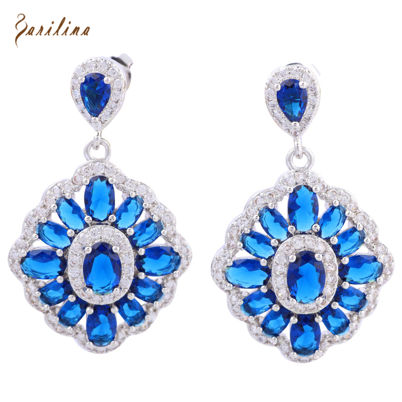 Royal Blue Cubic Zirconia 925 Sterling Silver Overlay dangle earrings for women fashion jewelry wedding accessories E425