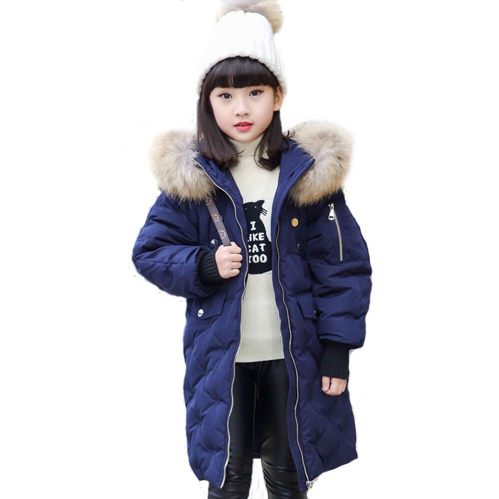цена на Brand Kids Winter Jacket for Girls Teenager Clothes Russian Children Duck Down Coat Long Big Fur Hooded Warm Outerwear 10 12