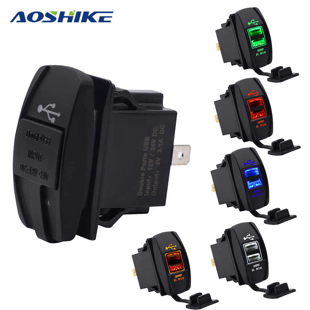 AOSHIKE Dual USB Interface Car Charger Cigarette Lighter 5V 2.1A Motorcycle Boat Connector For Cars Sockets Power Plug Universal