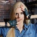 FIORETTO Trendy Women's Crocodile Fingerless Gloves Genuine Leather Half Finger Driving Gloves Ladies Cosplay Gloves for Women