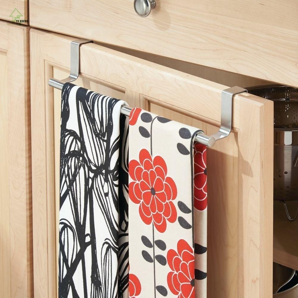 Нержавеющая сталь Полотенца бар держатель над Кухня шкаф двери висит стеллаж для хранения чистящий диск держатель Держатели