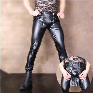 Image 1 - Fashion New Design Cool Men Elastic Faux PU Leather Pants Double Zipper Slim Long Trousers Black Male Streetwear Club Outfit