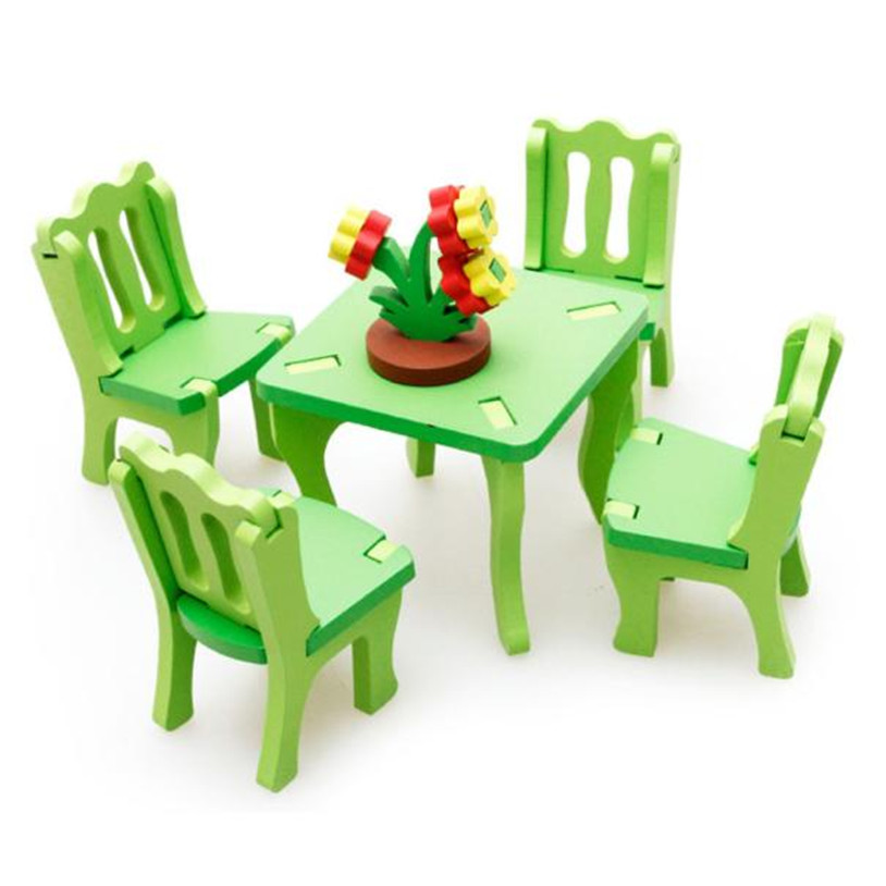 2017 Kid Children Educational Toy Wooden 3D Puzzle Home Table Chair Dresser Toy Gift Brand New High Quality May 26