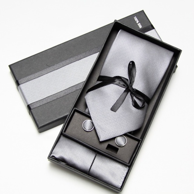Men's Tie Hankerchiefs Cufflink Sets 10 colours with Gift Box