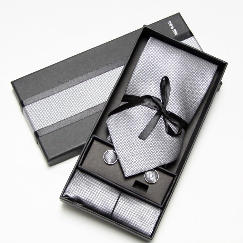 2019 Fashion Wide Tie Sets Men's Neck Tie Hankerchiefs Cufflinks 10 Colours Box Gift Polyester Handmade