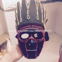 Модные яркие со светящимися вставками EL провода индийский головной убор маска ночной клуб осветить Хэллоуин маскарад Головные уборы