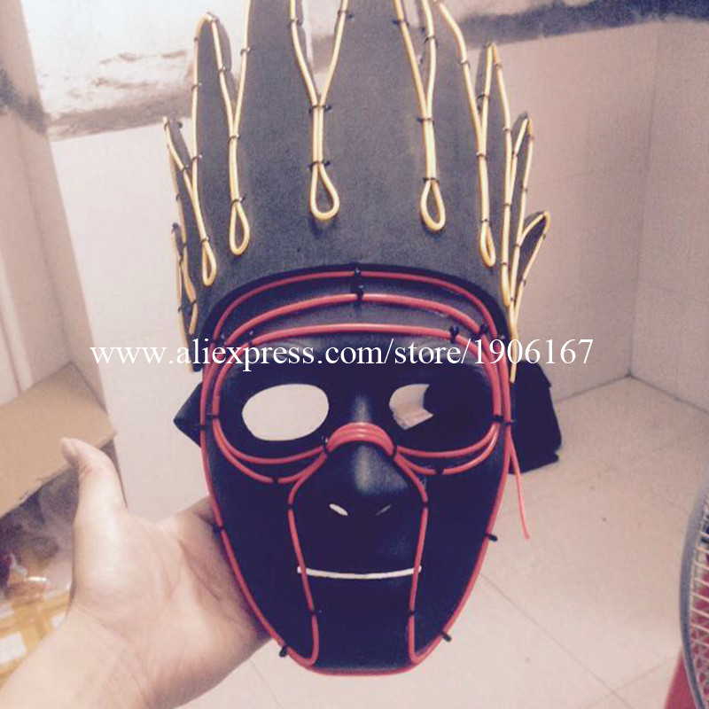 Fashion Colorful Led Luminous EL wire Indian Headdress Mask Night Club Illuminate Halloween Masquerade Party Headwear