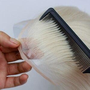 Image 5 - #60 блонд человеческие волосы для мужчин моно прозрачный кружевной парик с кожей ПУ около 8X10 кружевной топ европейские волосы Remy Eseewigs