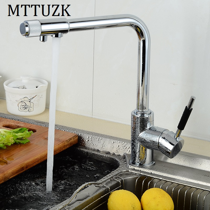 MTTUZK Contemporary Polished Chrome Brass Kitchen Faucet Dual Handel Vessel Mixer Tap Pure Water Faucet Hot&Cold mixer Tap 3 WayMTTUZK Contemporary Polished Chrome Brass Kitchen Faucet Dual Handel Vessel Mixer Tap Pure Water Faucet Hot&Cold mixer Tap 3 Way