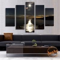 5ピース掛り絵画照明ムーンキャンバスプリント絵画海の風景ウォールアートの絵画リビングルームホーム装飾絵
