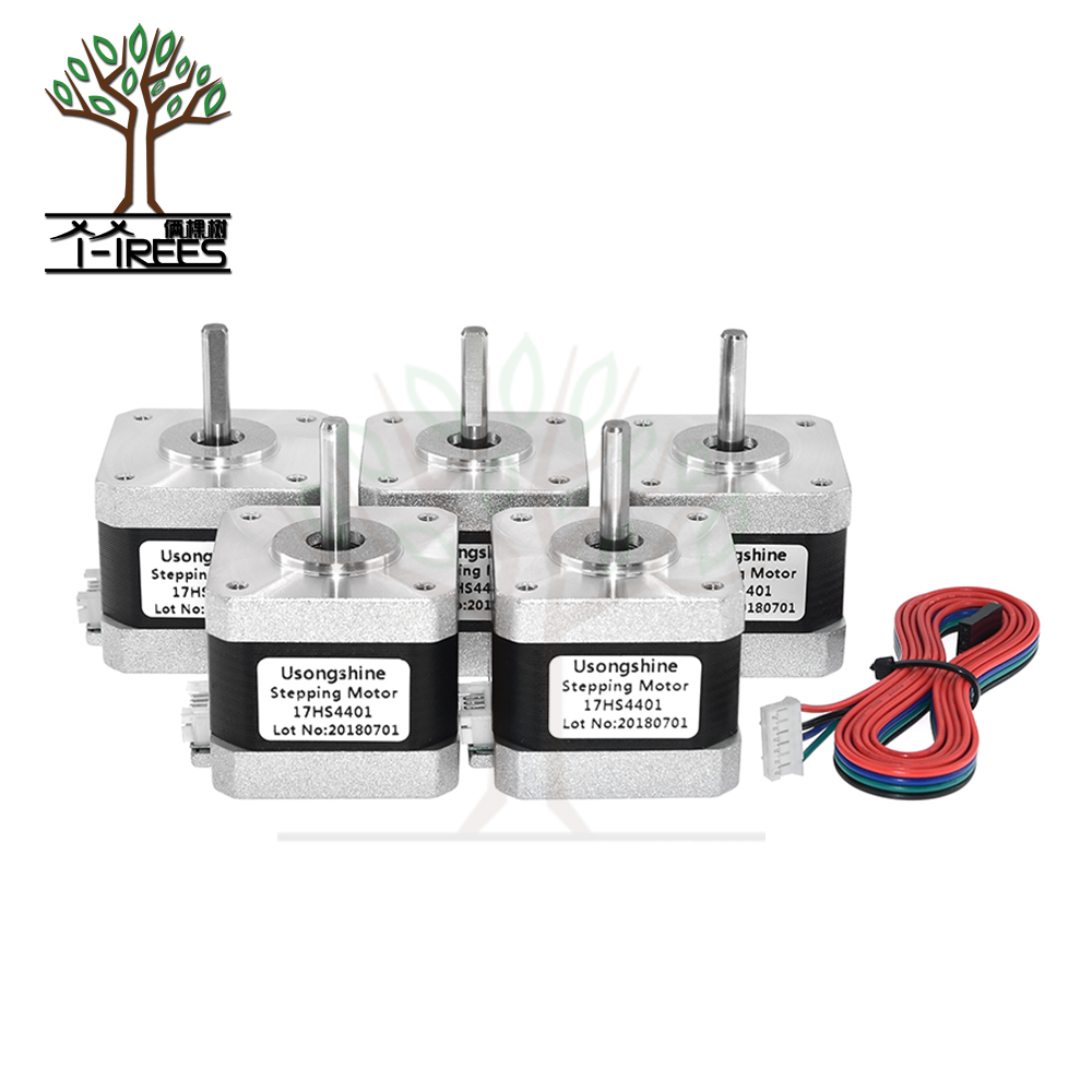 5 unids/lote 4 Plomo Nema17 Stepper Motor 42 motor NEMA 17 motor 42 BYGH 1.5A (17HS4401) uso para 3D impresora y CNC
