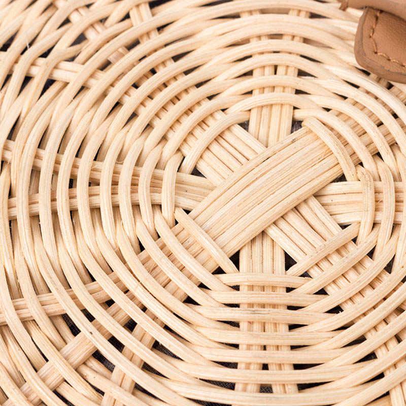 Saco de palha feminina boêmio bali rattan praia bolsa pequeno círculo senhora vintage crossbody artesanal kintted sacos de ombro ss0371