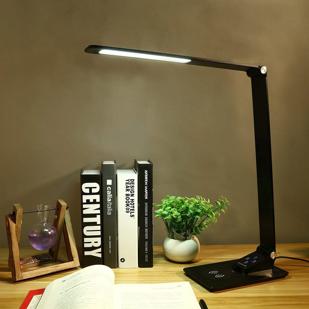 LED Desk Lamp with USB Port,Premium Metal Office Light with Wireless Charger,3 Lighting Modes,5 Brightness Levels,7W,Black