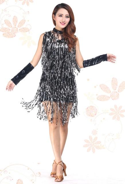 Free Shipping Latin Dance Costume Performance Wear Adult Tassel Sequins Clothing Customize Women's Latin Dance Dress
