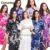 L1686 Caliente Floral Traje de Las Damas de honor Novia Sólido Femenino Bata Kimono Vestido de la camisa de Verano Nueva Flor de Satén Del Camisón de Dormir Pijamas