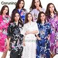 L1686  Hot Floral Bridesmaids Robe Solid Bride Robe Female Kimono Robe Gown Summer New Satin Nightgown Sleepwear Flower Pajamas